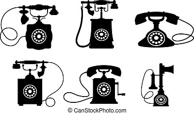 Vintage telephones - Set of old vintage telephones isolated...
