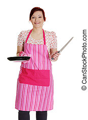 Happy woman in pink kitchen apron.