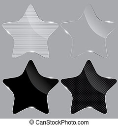 Set of realistic glass stars. Vector illustration.