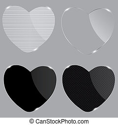 Set of realistic glass hearts. Vector illustration.