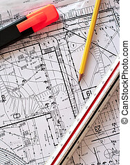 Engineering - engineer tools on a technical drawing. drawing...