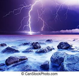 thunderstorm - summer storm beginning with lightning