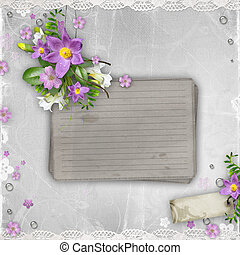 vintage paper  with spring flowers