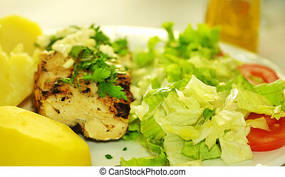traditional plate of grilled cod