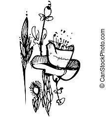 sketch in black and white flower