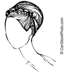 haircut girl - a sketch in black and white haircut girl