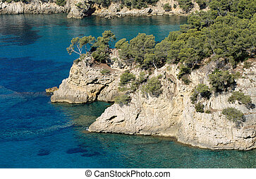 Typical landscape of Mediterranean coast and sea