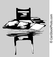 chair at the table to table books and notebooks - a chair at...
