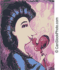 Vector image of a woman with a lollipop