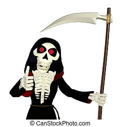 Thumbs Up Grim Reaper - Illustration of a grim reaper giving...