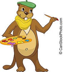 Beaver CREES. - Cartoon Character Beaver CREES Isolated on...