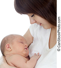 Close-up young mother holding her newborn baby isolated on...