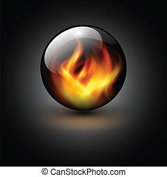 Background - 3D sphere with fire flames inside as vector...