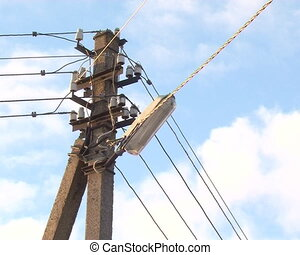electricity poles sky - ancient concrete electricity poles...