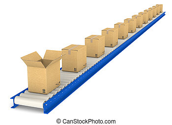 Conveyor Belt - Conveyor Belt with boxes One Open Cardboard...