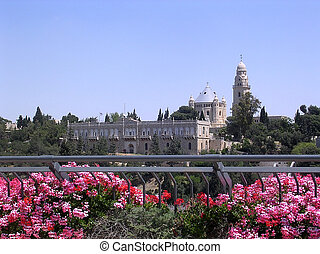 Jerusalem Dormition Abbey 2005 - Flowers and Dormition Abbey...