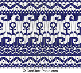 knitted marine pattern - Seamless knitted marine pattern EPS...