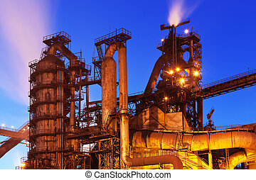 Blast furnace equipment - Night view of blast furnace...
