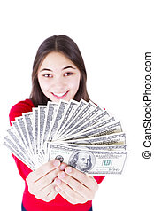 What Would You Do With Money - Young girl holding her...
