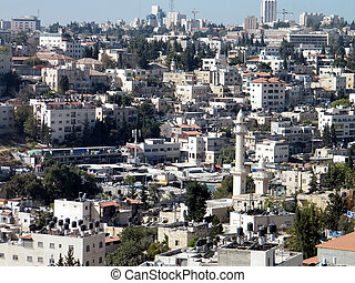 Jerusalem Houses and Minaret on the hillside 2010 - Houses...