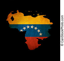 Map outline of Venezuela isolated on black with grunge...