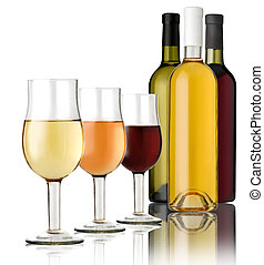 3 glass of wine - 3 Glass and 3 bottles wine on a white...