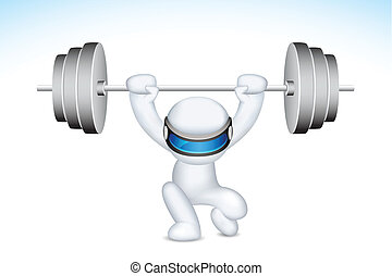 3d Man lifting Weights in vector