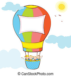Kids in Hot Air Balloon - illustration of kid in hot air...