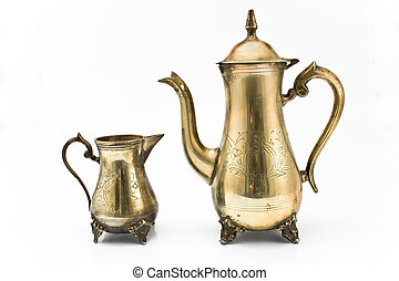 Antique silver teapot and jug