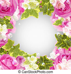 Roses and white flowers - Card with roses, white flowers and...