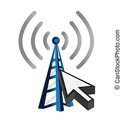 Blue wireless technology tower and cursor illustration...