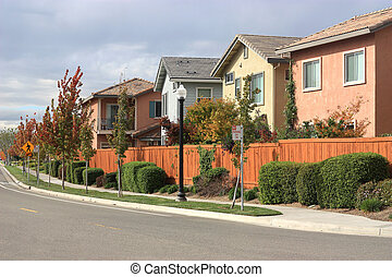 Modern Houses - Row of houses in suburban neighborhood
