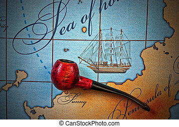 tobacco pipe on map - tobacco pipe on a stylized map
