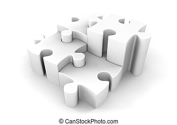 3d Puzzle Pieces In White Interlocking