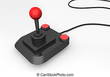 3d render of a retro joystick in black and red