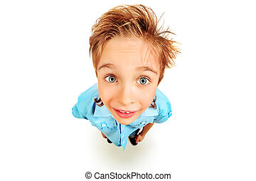 face closeup - Portrait of a 8 year boy Isolated over white...