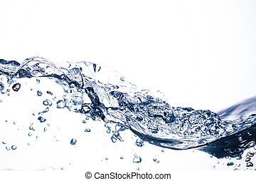 pure water wave with bubbles and splash