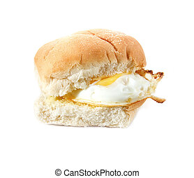 Fried Egg Butty - Fried Egg filled bread roll, bap or bun