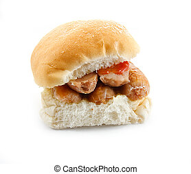 Sausage Butty - Sausage filled bread roll, bap or bun