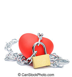 Chained red heart. Love and passion concept