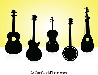 String instruments silhouettes on color background