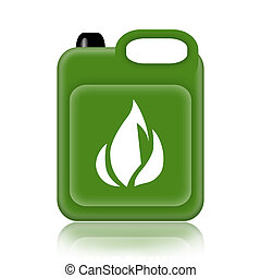 Gasoline Canister - Green jerrycan isolated on white...