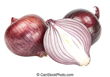 Red onion cut On a white background