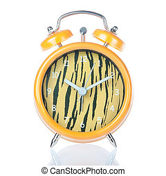 Antique clock tiger coloring. On a white background.