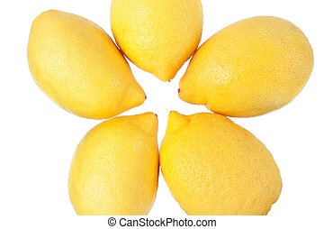 Group of lemons on a white background.