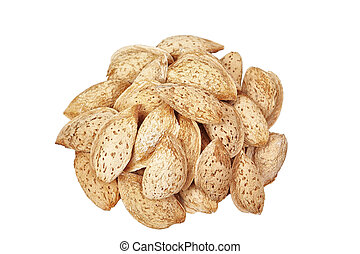Group of almonds on a white background.