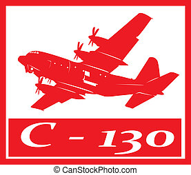 Aircraft - C130 cargo plane in red silhouette.