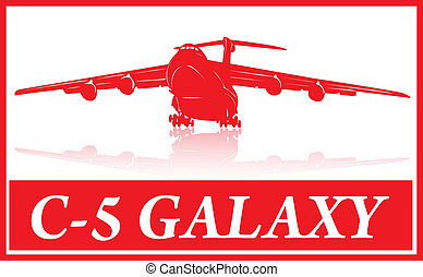 Aircraft - Huge cargo plane in red silhouette.