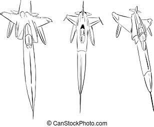 Aircraft - Fighter aircraft in sketch.