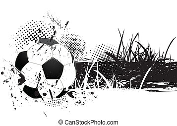 Grunge background with soccer ball and grass